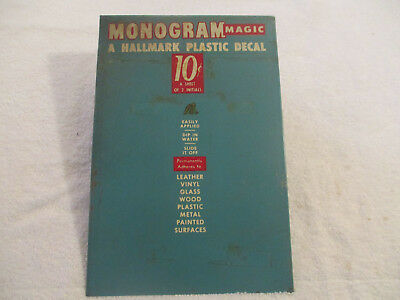 "OLD HALLMARK metal sign STORE ADVERTISING DISPLAY 7 x 11"" Monogram Magic Decals"