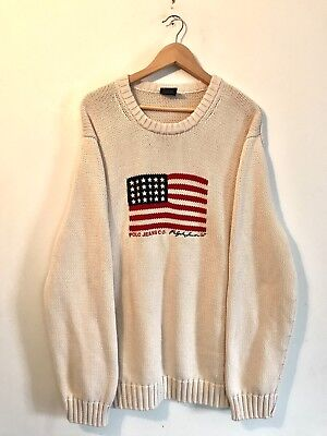 Polo Ralph Lauren Flag Knit Sweater Embroidered Vintage RARE XXL