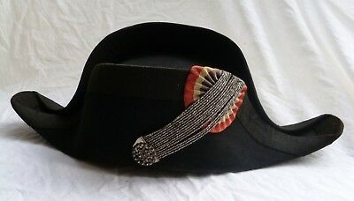 1800s ANTIQUE EUROPEAN MILITARY BICORN HAT UNIFORM  NO Pirate tricorn Napoleonic