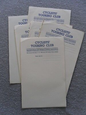Cyclists Touring Club , Leicestershire & Rutland District . Notepaper . 1930's
