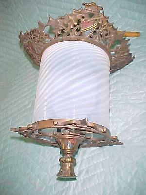 Antique Gothic/Victorian Cast Bronze Light Fixture, Opalescent Swirl Glass Shade