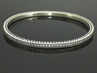 Pandora Silver Twinkling Forever Bangle Solid Silver 925 Sterling CZ Small Size