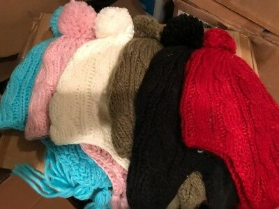Girls Knit Earflap Caps  Lot Of 16 Pieces