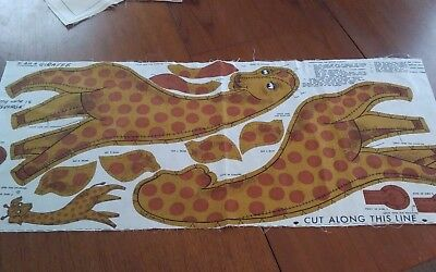 "Mid century George the Giraffe fabric panel stuffed toy 26"" tall very cute uncut"