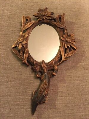 VINTAGE Art Nouveau WOODEN HAND MIRROR CARVED