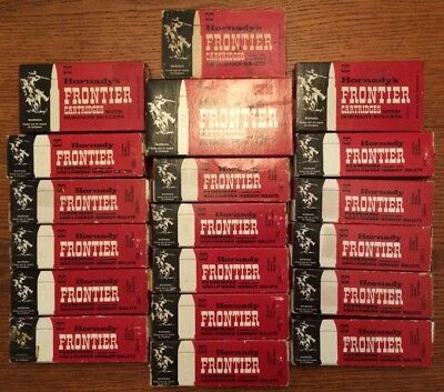 Vintage HORNADY Frontier Lot of 19 Ammo Boxes 44 Rem Mag + Inserts 30-30 Win BOX