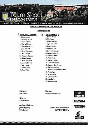 Teamsheet - Aston Villa Ladies v Arsenal Ladies 2014/15 Friendly
