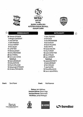 Teamsheet - Birmingham City Ladies v Notts County Ladies 2014/15