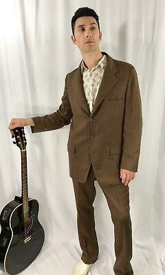 1950's Allen Western Wear Brown Pinstripe Jacquard Rockabilly 2 pc suit 40R