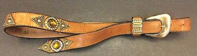 Women's Fashion Belt Brown Leather Embellishments & Beads Gold Tone Buckle