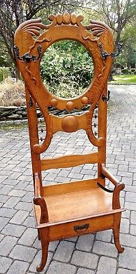 Antique Oak Refinished Hall Tree/hall Rack W/ Umbrella Stand From Vt Estate!