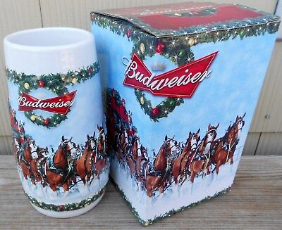 Budweiser 2009 Holiday Beer Stein Nib Clydesdales Holiday Tradition Anheuser Bus
