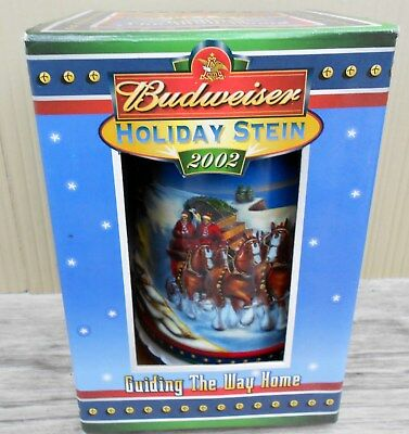 Budweiser 2002 Holiday Beer Stein Nib Clydesdales Holiday Tradition Anheuser Bus