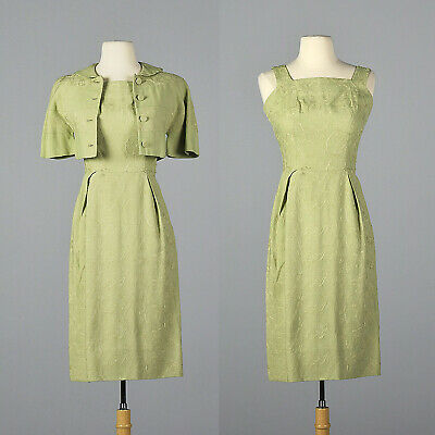 XS 1950s Green Linen Pencil Dress Matching Jacket Floral Embroidery 50s VTG