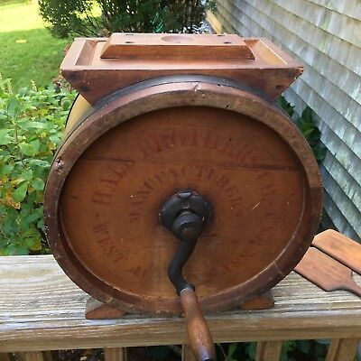 Antique 1890s Hall Bros Co. West Acton Mass Cylinder Butter With Wooden Paddles