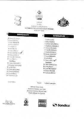 Teamsheet - Birmingham City Ladies v Sunderland Ladies 2015/16