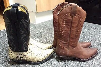 2 x SENDRA Western COWBOY BOOTS, Real SNAKESKIN / Spanish Leather, size 5/38