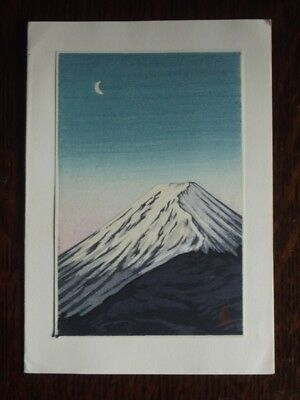 Vintage 1950's JAPANESE WOOD CUT PRINT CHRISTMAS CARD - MOUNT FUJI