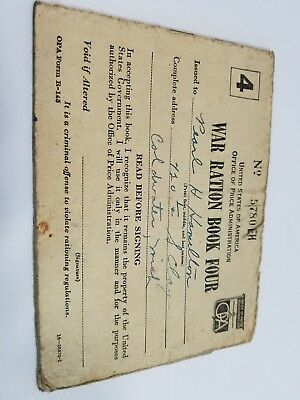 Vintage 1943 War Ration Book Four with Multiple Partially Used Pages of Stamps