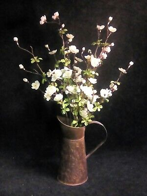 antique vintage rustic Primitive Country Style pitcher white  flowers decor