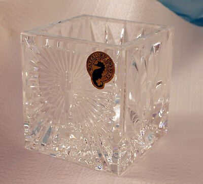 Waterford square cross pattern votive candle holder