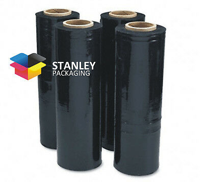 Black Stretch Film 500mm x 450m 25um Hand Pallet Wrapping 2inch core Dispenser