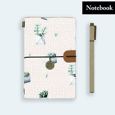 Hand Made Genuine Leather Journal Travel Diary Travelers Notebook Size Cactus