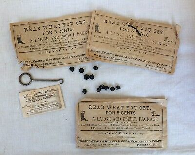 Victorian Shoe Button Fasteners Hook Package Orig c1900 Freeland PA NOS New (3)