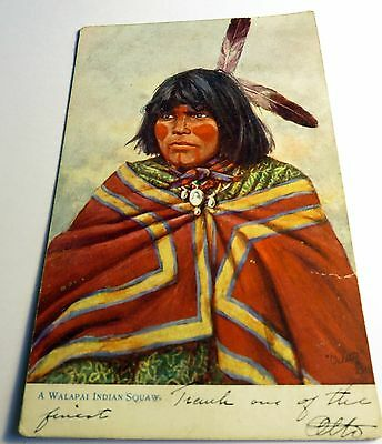 Color Tuck's Native American Postcard Walapai Woman 1908 Postmark