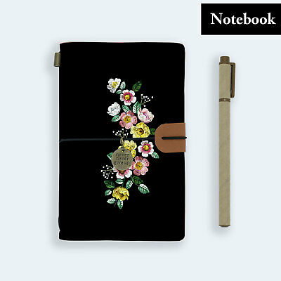 Genuine Leather Journal Travel Diary Travelers Notebook Size Black Flower