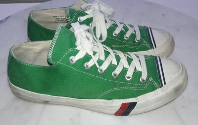 Pro Keds Mens Size 10 Green and White Canvas Sneaker