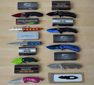 Lot of 10 folding knives, stainless steel blades, includes retail boxes, NEW