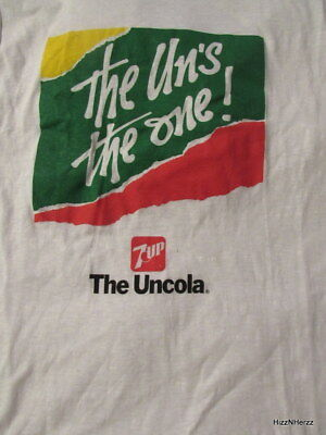 Vintage Mens L 80s 7Up The UnCola The Uns the One T Shirt Unworn