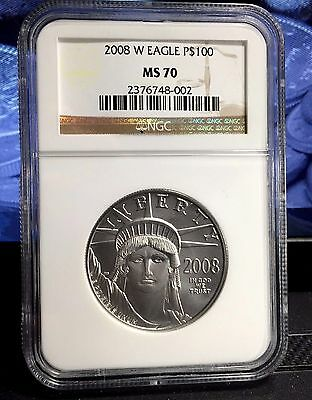 2008-W 1 oz Platinum Burnished $100 Statue of Liberty NGC MS70 American Eagle
