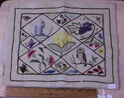 "Vintage Hand Embroidered Crewel Cushion Case c1950~Animals & Owl~12""LX15""W"