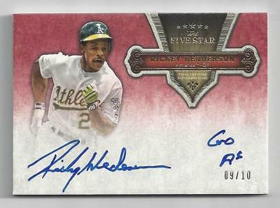 RICKEY HENDERSON 2012 TOPPS Five Star INSCRIPTIONS QUOTABLE Autograph 09/10