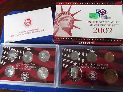 2002 US United States SILVER Proof Set mint coins State Quarter COA sealed 90%