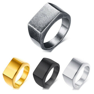 10MM Gold/Silver/Black Smooth Band Men's 316L Stainless Steel Party Ring Sz 8-12