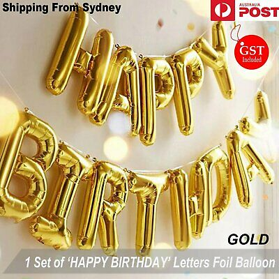 40cm 3D Gold Happy Birthday Foil Balloons Letters Party Wedding Balloon Shower