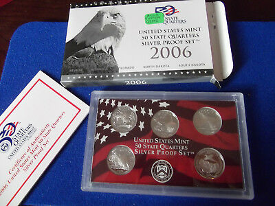 2006 SILVER State Quarters only US United States Proof Set mint coin COA 90% box