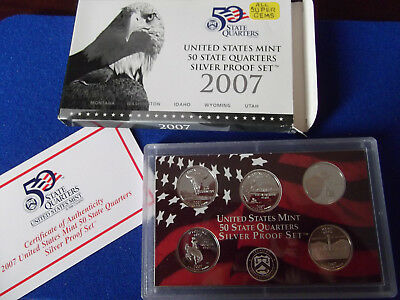 2007 SILVER State Quarters only US United States Proof Set mint coin COA 90% box