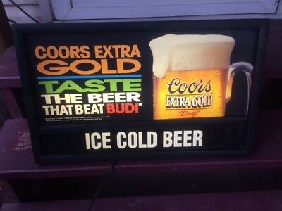 Vintage Coors Extra Gold beer lighted sign