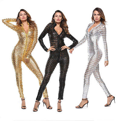 3000812862 4XL Plus Size Women Sexy Zipper PU Leather Clubwear Jumpsuit Bodysuit  Catsuit