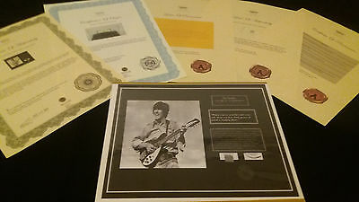 The BEATLES GEORGE HARRISON Hair Lock w Shirt Piece Photo Certified Signed COA