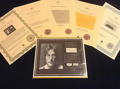 JOHN LENNON BEATLES HairLock w Towel Photo Provenance Certified Signed Authentic