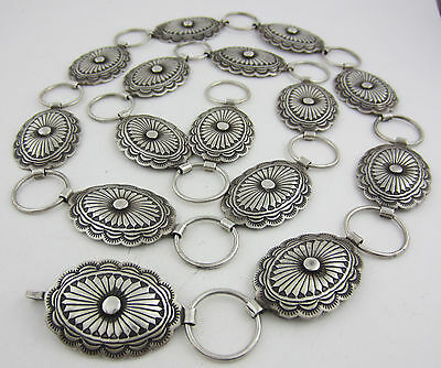 Gorgeous Sterling Silver Old Pawn Southwestern Concho / Concha Belt - 226 grams