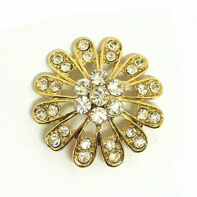 MYO Browband Supplies -  Crystal & Gold Centre Buttons - 28mm