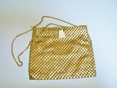 Whiting and Davis Vintage Gold Metal Mesh Purse/ Shoulder Bag with Chain Strap