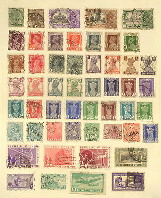 Two pages of used stamps from India