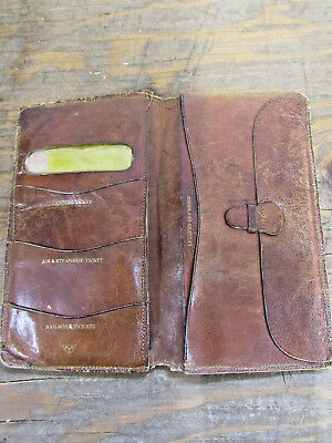 Very Old Antique H H & W Leather Gentlemen's Travel Wallet Documents England